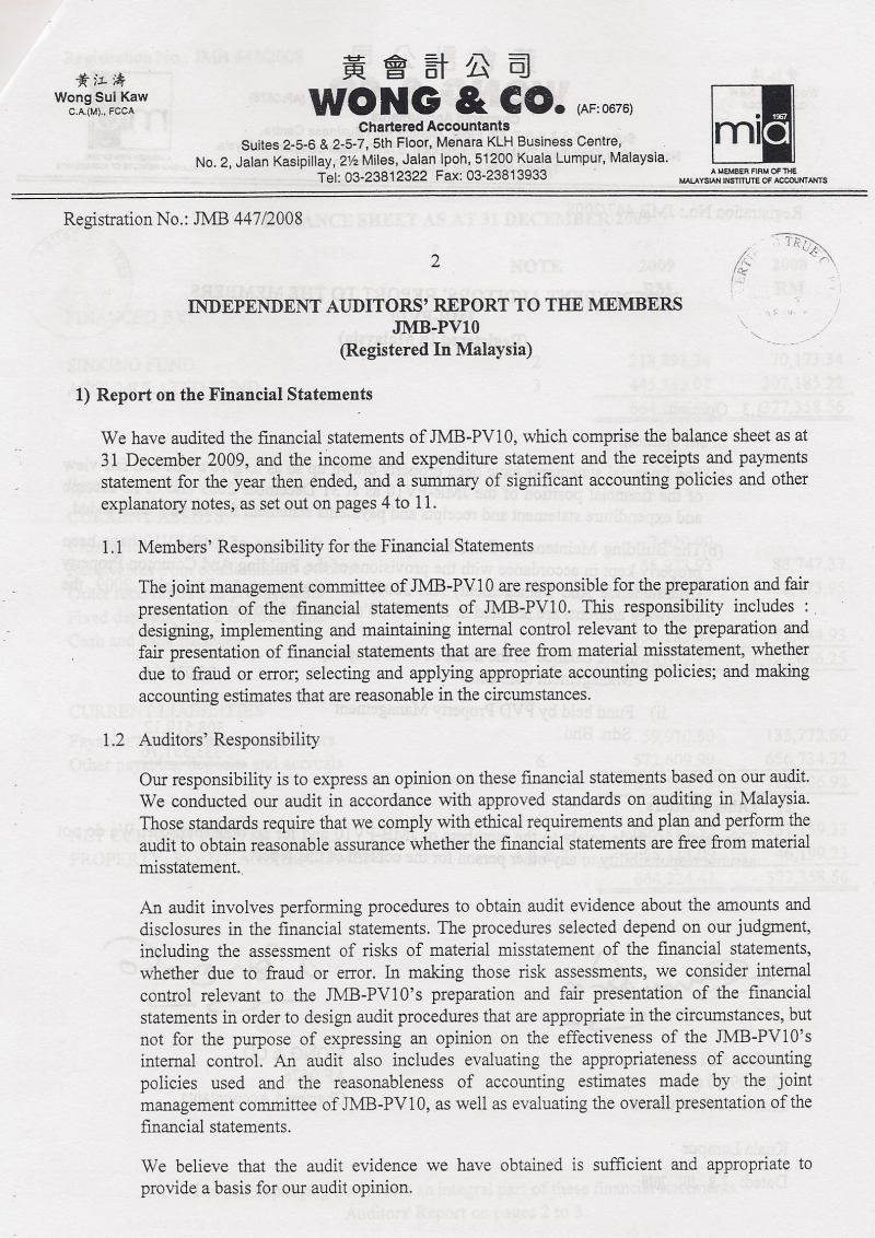 Auditors Report PV 10