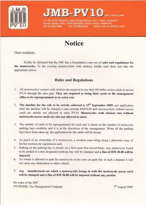 Memo Notice to Motorbike User