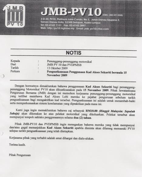 Notis kepada Penunggang-penunggang Motorsikal