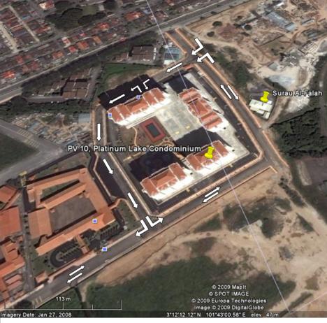 Google Map view of the one way flow of Jalan Danau Saujana 2